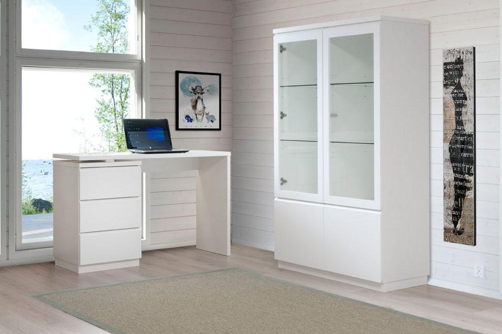 Line työpöytä + kapea laatikosto valkoinen