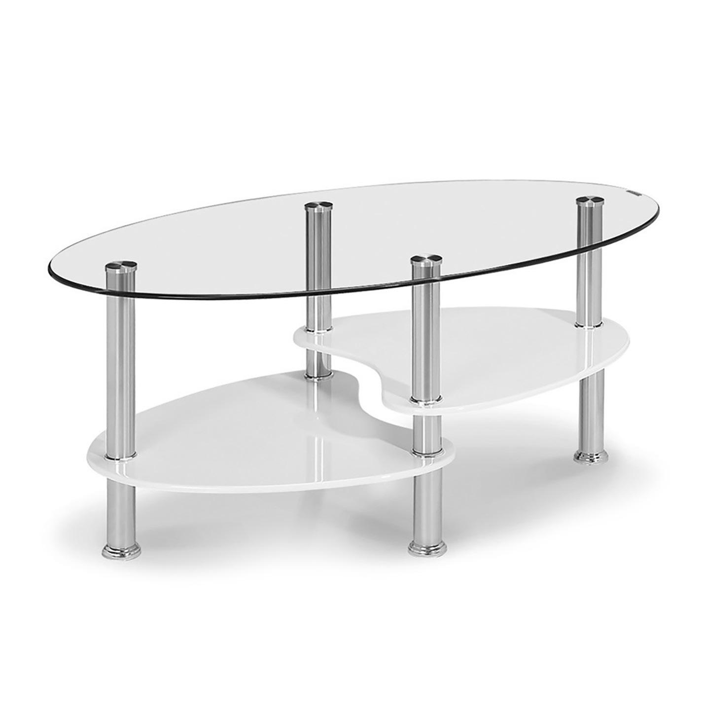 Oval sohvapöytä kiiltävä valkoinen, Tenstar