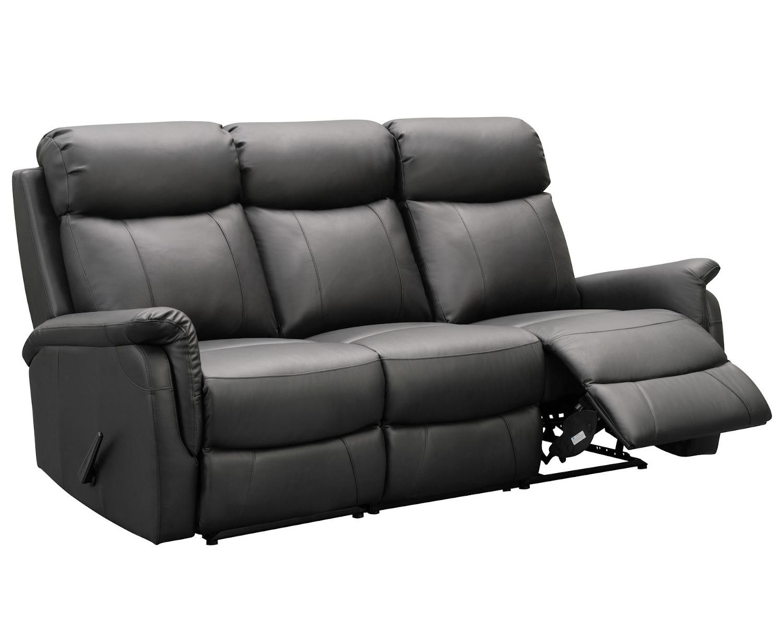 Victoria 3-istuttava reclinersohva, musta nahka/keinonahka, Tenstar