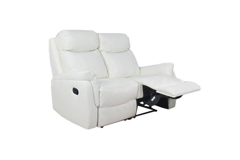 Rubin 2-istuttava reclinersohva, valkoinen nahka/keinonahka, Tenstar