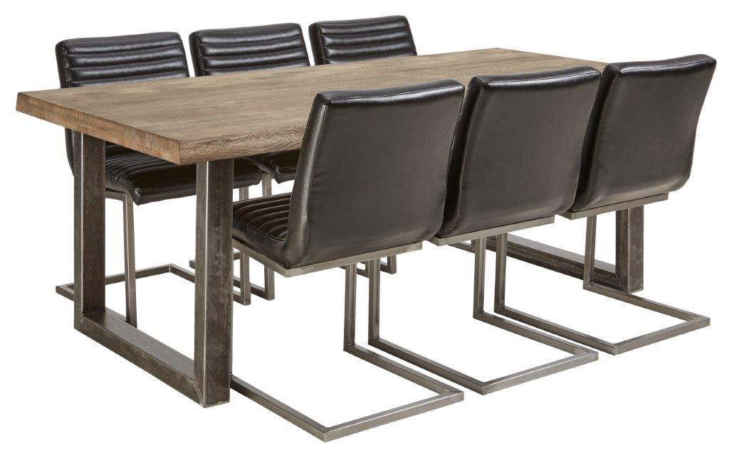 Vigo pöytä ja 6 mustaa Bernilla tuolia