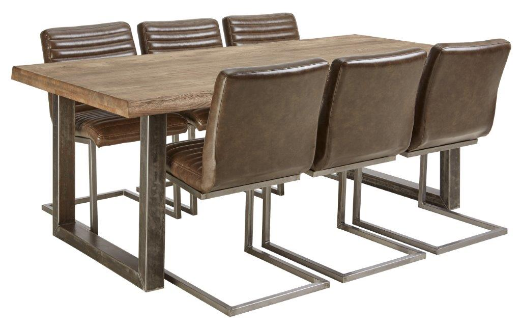 Vigo pöytä ja 6 ruskeaa Bernilla tuolia