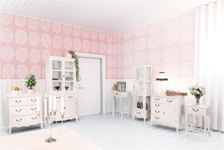 Romantic puolipyöreä apupöytä rustik valkoinen, Tenstar