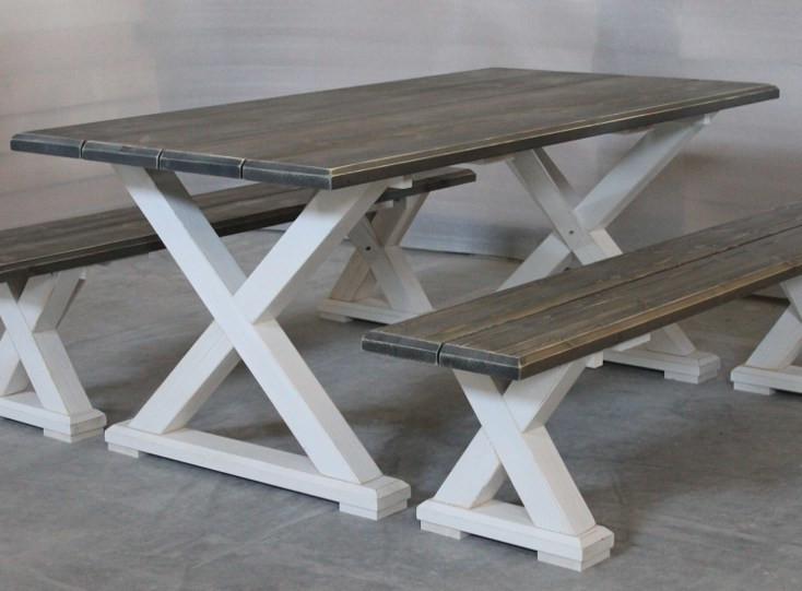 Vanamo ruokapöytä 180x92cm harmaa/valkoinen