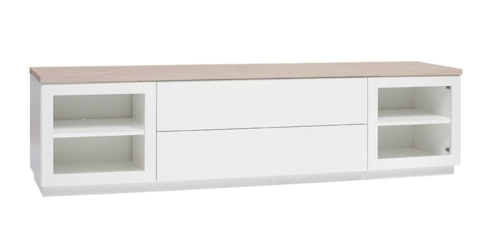 Anton A6.2 TV-taso 200 kirkas lasi, valkoinen/tammi
