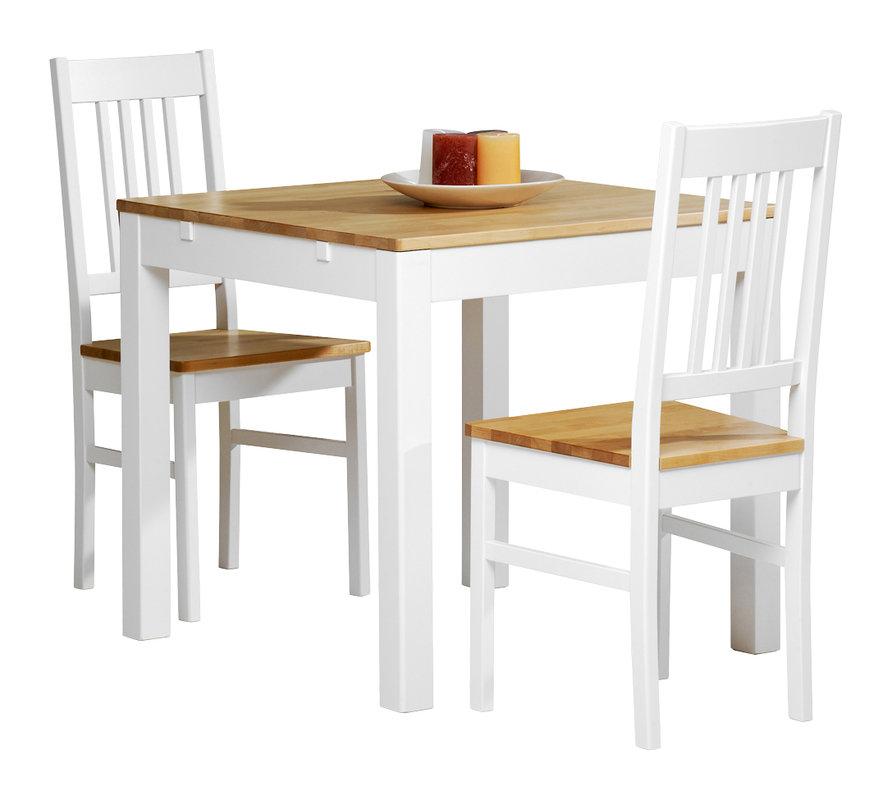 Emilia pöytä 80x80 valkoinen/lv koivu