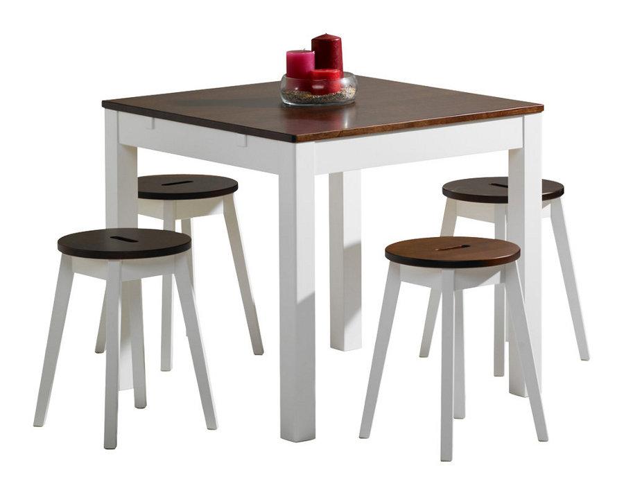 Emilia pöytä 80x80 valkoinen/ruskea