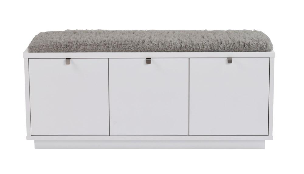 Confetti penkki 3L valkoinen/harmaa lammasjäljitelmä, Rowico