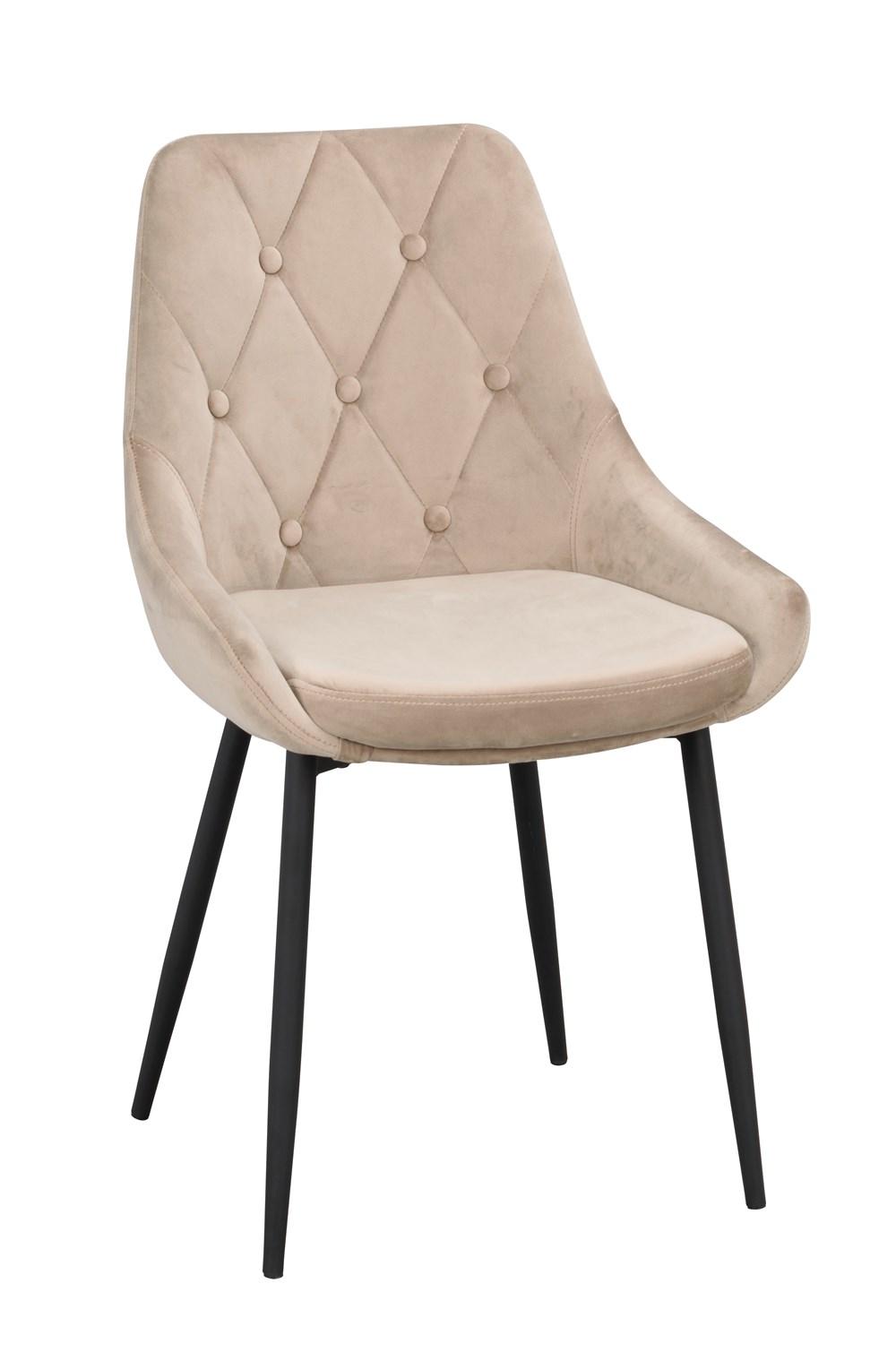 Alberton tuoli beige sametti/musta metalli, Rowico