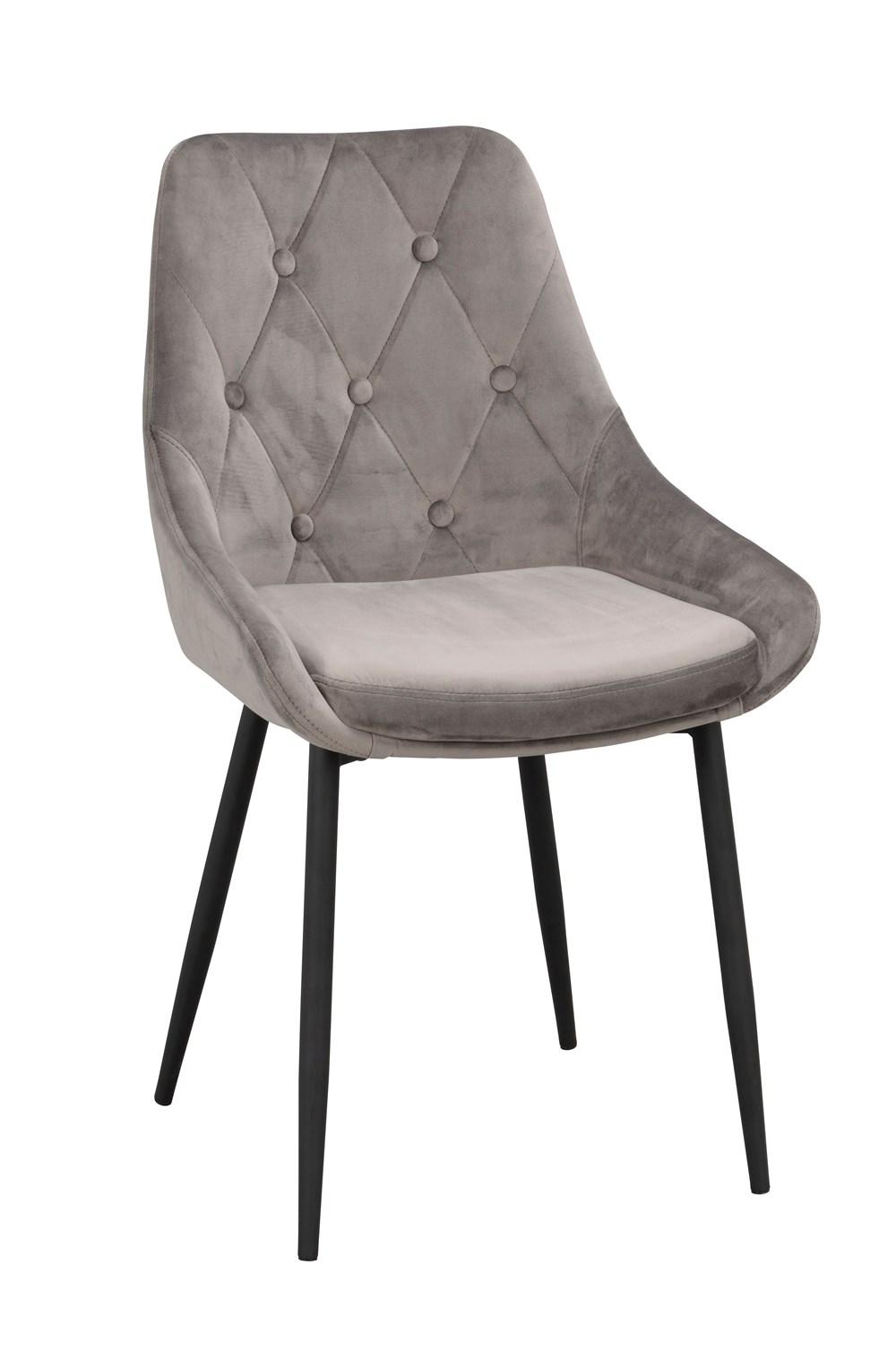 Alberton tuoli harmaa sametti/musta metalli, Rowico