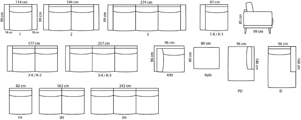 Viivi kulmasohva 273 x 273 cm HR2