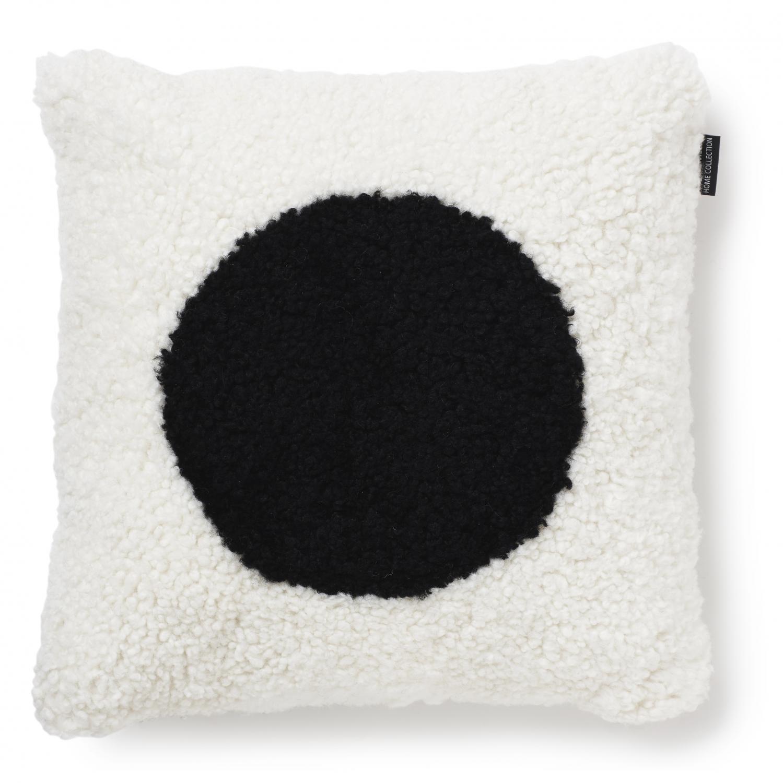Curly koristetyynyn päällinen 45x45 valkoinen/musta pallo