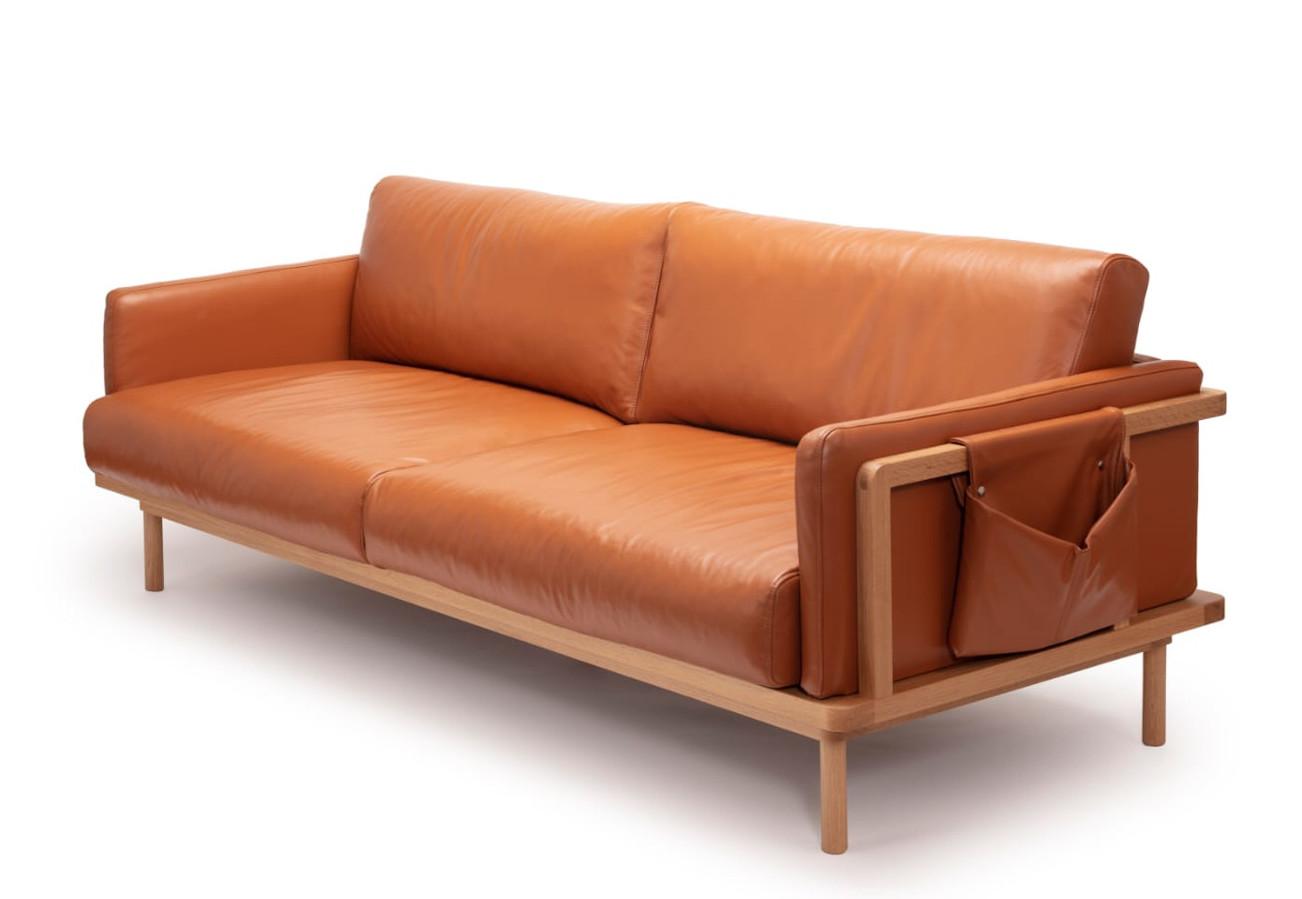 Framework 3-istuttava sohva tammi puut / Lena nahka