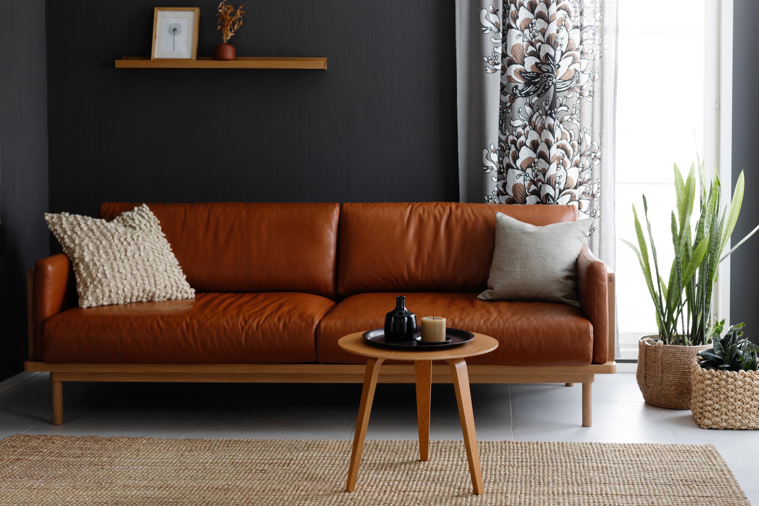 Framework 3,5-istuttava sohva tammi puut / Lena nahka