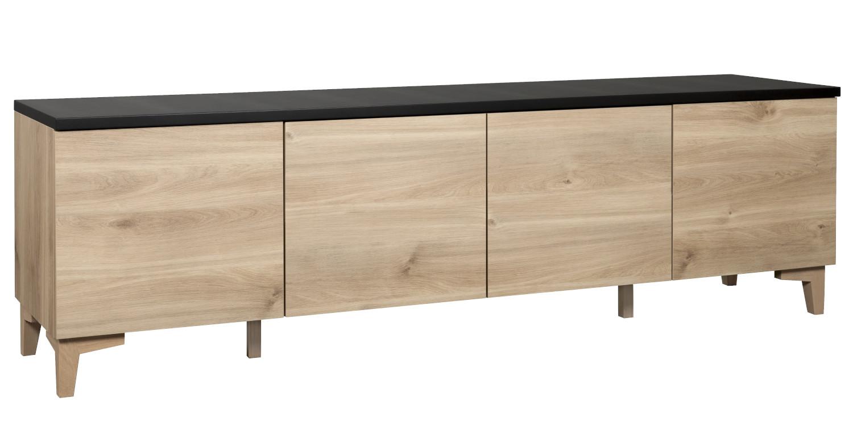 Niklas N6.2 TV-taso 200 cm, hunaja tammi/maalattu musta, Hiipakka