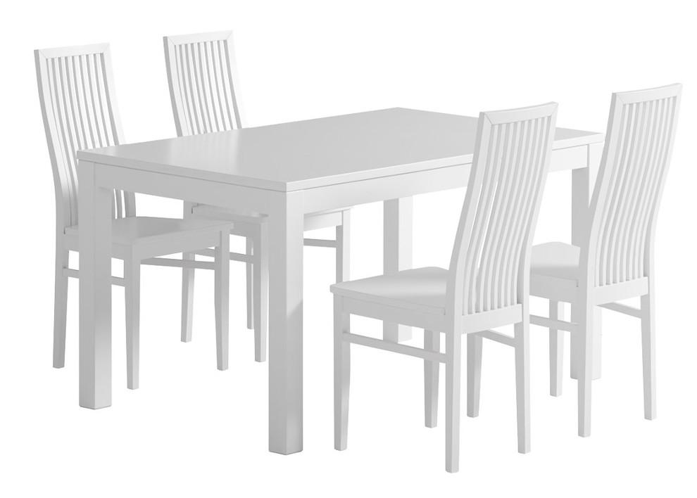 Julia pöytä 135x85 ja 4 tuolia puuistuin valkoinen