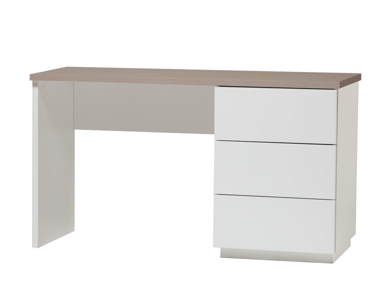 Anton työpöytä 130 cm laatikoilla oikea, valkoinen/tammi