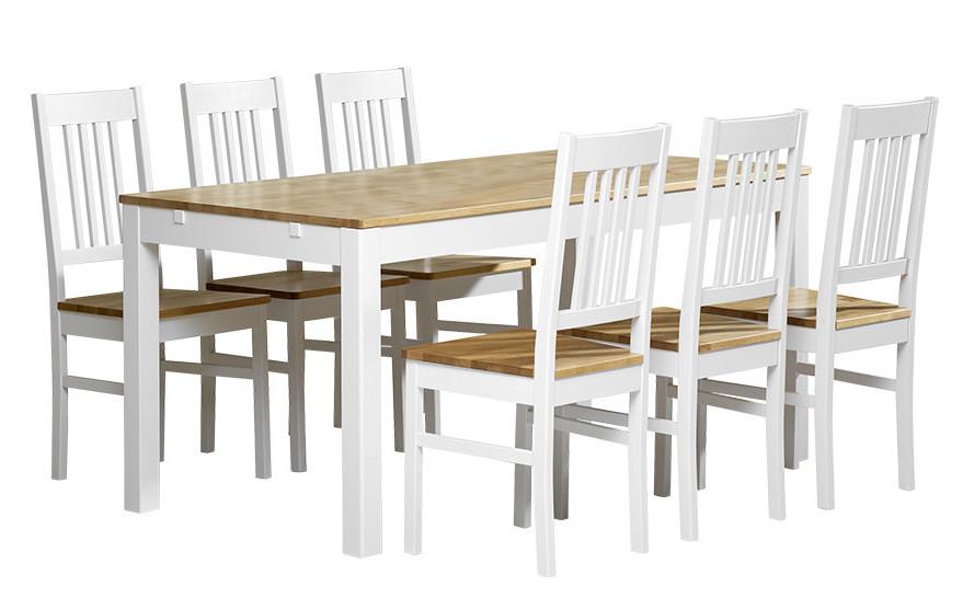 Emilia pöytä 160x80 + 6 tuolia valkoinen/lv koivu