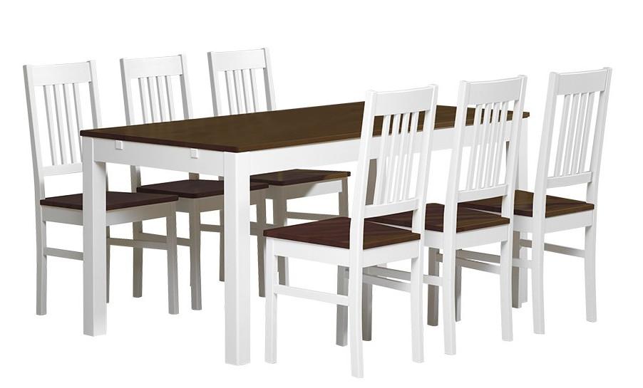 Emilia pöytä 160x80 + 6 tuolia valkoinen/ruskea