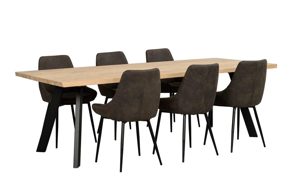 Fred pöytä 240 kuultovalkoinen tammi / musta, Rowico