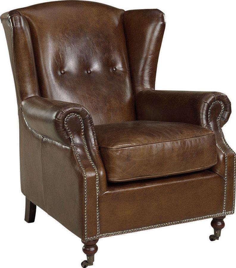 Goslar nojatuoli antiikkinahka ruskea