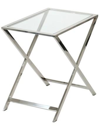 Lasipöytä X 60x40x60, kiillotettu teräs, Roomligh