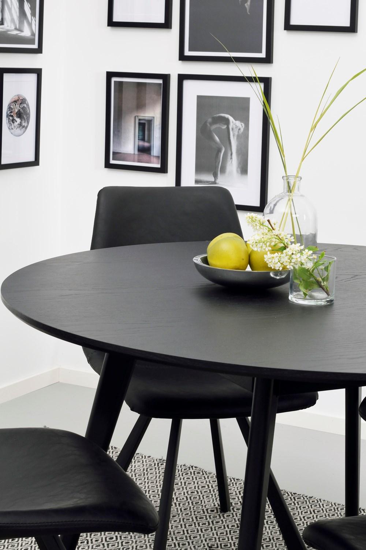 Yumi ruokapöytä pyöreä 115cm mustapetsattu, Rowico