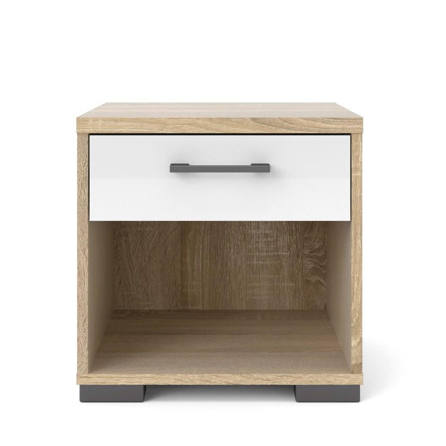 Homeline yöpöytä laatikko+avo, tammi/korkeakiiltovalkoinen