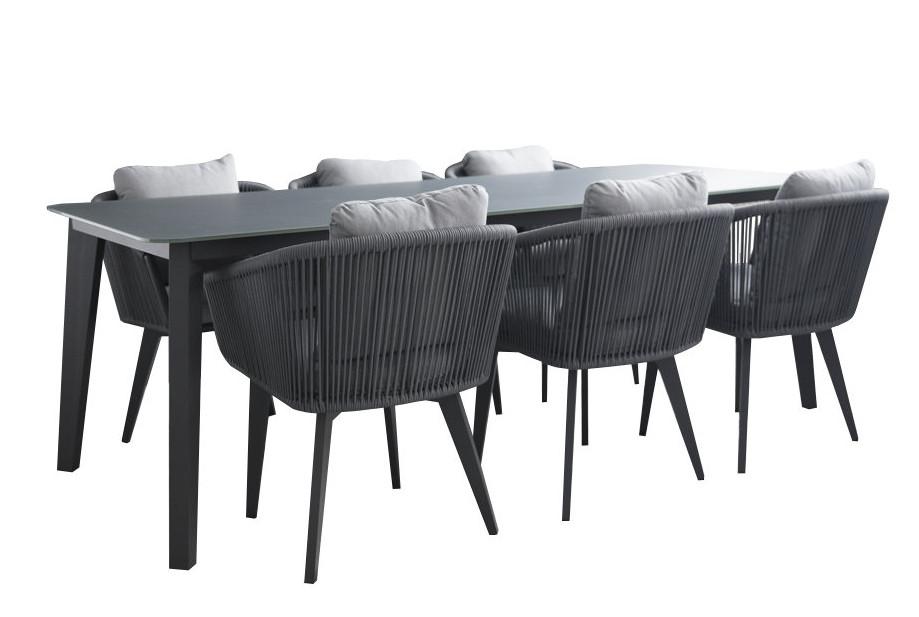 Diva pöytä 90 x 220 ja 6 Diva tuolia harmaa