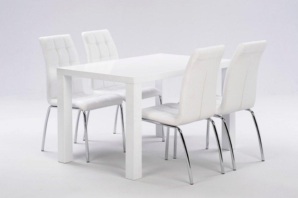 Julia pöytä 120x80cm + 4 valkoista Krista tuolia