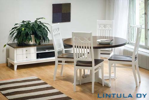 Björkman pöytä pyöreä 110cm + 4 Woodman tuolia