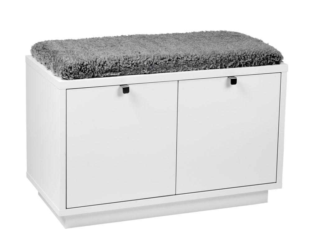 Confetti penkki 2L valkoinen/harmaa lammasjäljitelmä, Rowico