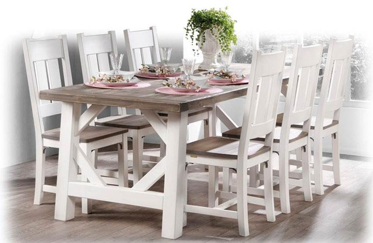 Provinssi-pöytä 196 ja 6 kpl Kartano tuolit