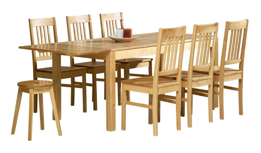 Emilia pöytä 160x80 + 6 tuolia luonnonvärinen koivu