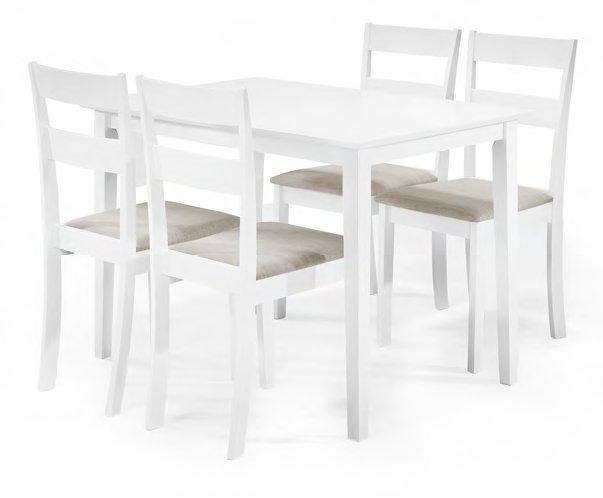 Emma pöytäryhmä 1+4, valkoinen/harmaa istuin, Tenstar
