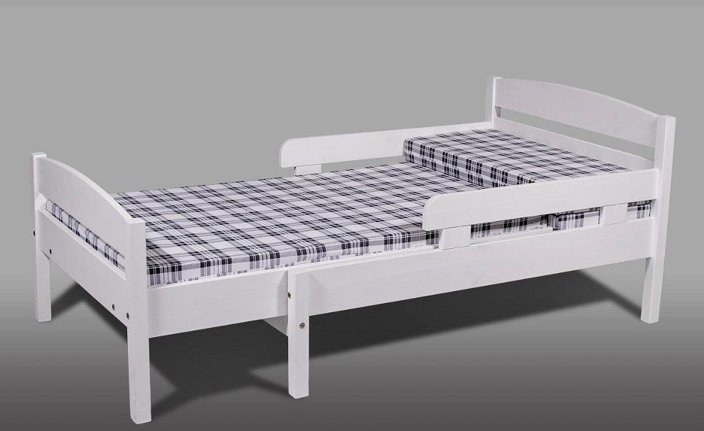 Nukkumatti jatkettava sänky valkolakattu