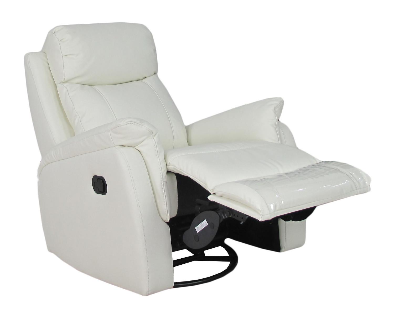 Rubin recliner tuoli, valkoinen nahka/keinonahka, Tenstar