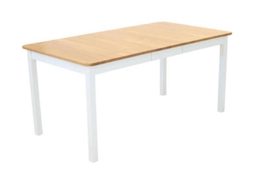 Sanna ruokapöytä 125x85+35cm valkoinen/pyökkipetsatt