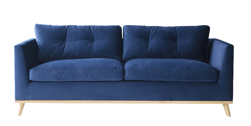 Arel 3H sohva Versailles Royal Blue, tammi puukehys