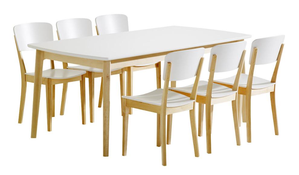 Olivia Pöytä 180x90 ja 6 tuolia puuistuin koivu/valkoinen