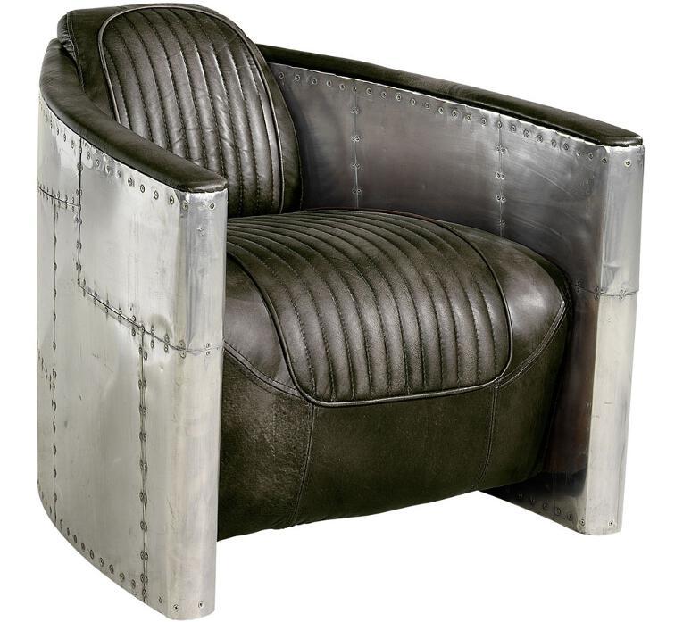 Tomcat Aviator nojatuoli harmaa antiikkinahka/pelti