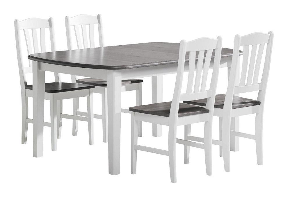 Viktoria ruokapöytä 140x90 valkoinen/kuultoharmaa