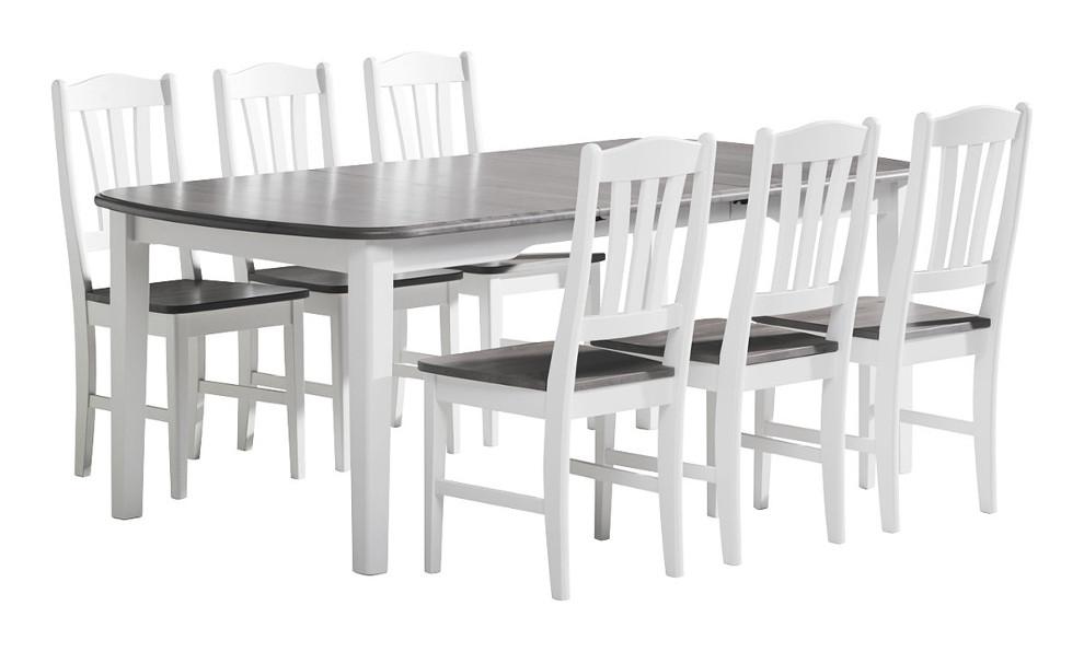 Viktoria ruokapöytä 150x100+50 valkoinen/kuultoharmaa