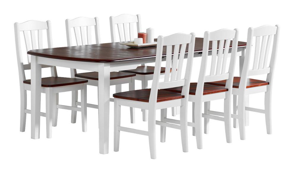 Viktoria ruokapöytä 150x100+50 valkoinen/pähkinä
