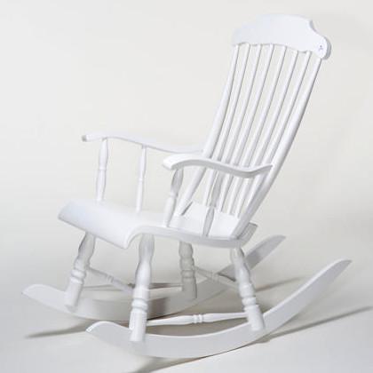 Eimi perinteinen keinutuoli valkoinen maalattu