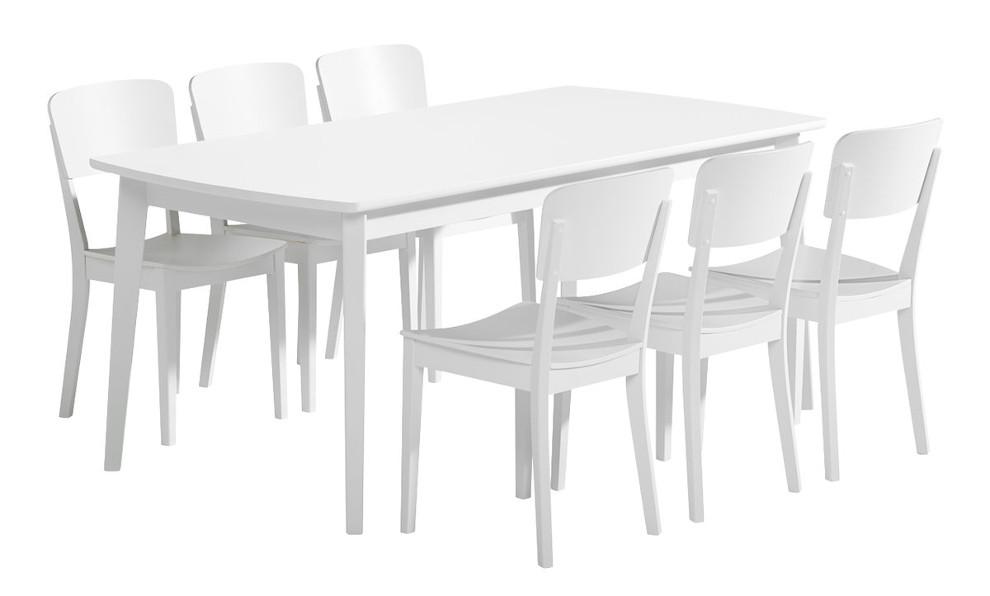 Olivia Pöytä 180x90 ja 6 tuolia puuistuin valkoinen