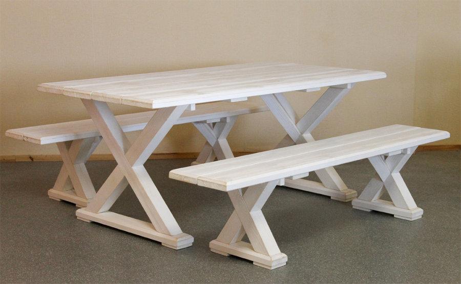 Vanamo pöytä ja penkit valkoinen
