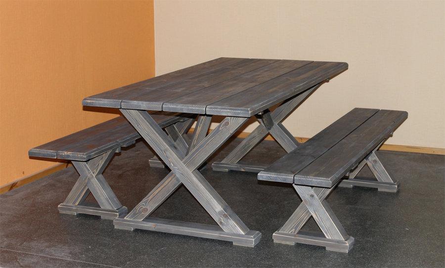 Vanamo pöytä ja penkit harmaa