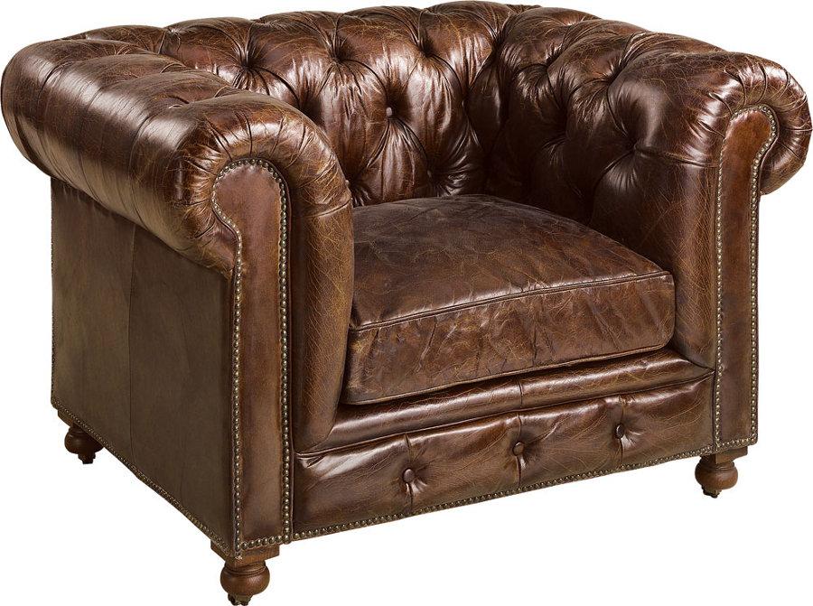 Kensington nojatuoli antiikkinahka ruskea