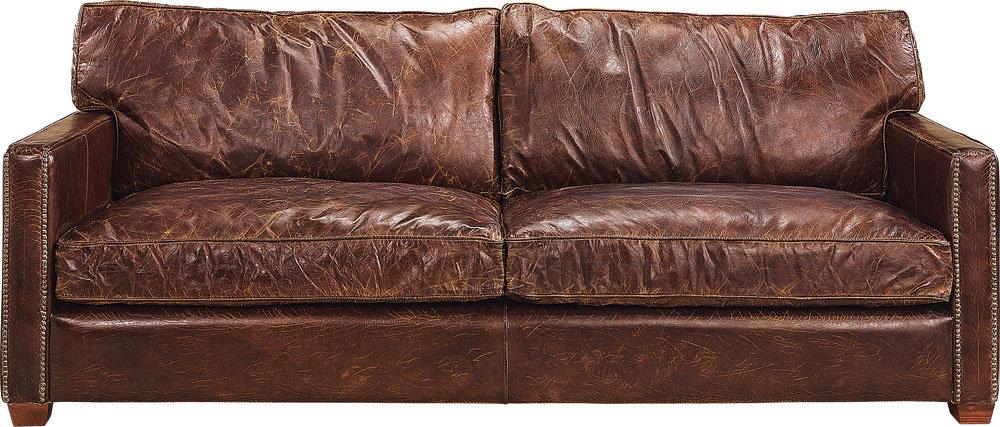 Viscount 3-ist. nahkasohva antiikki ruskea, Artwood